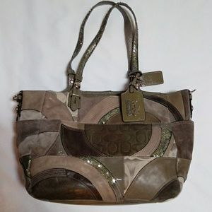 Coach leather suede patent patchwork bag